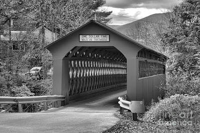 Photograph - Chiselville Covered Bridge Black And White by Adam Jewell
