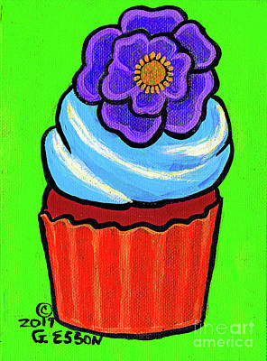 Royalty-Free and Rights-Managed Images - Chocolate Cupcake With Purple Flower by Genevieve Esson