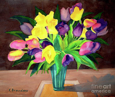 Painting - Chocolate Tulips Square by Kathy Braud