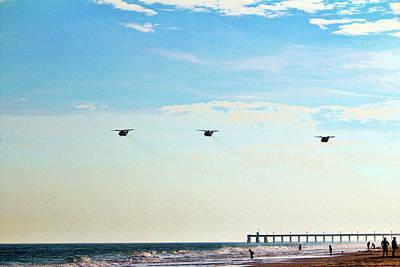 Photograph - Choppers Over Beach by Cynthia Guinn