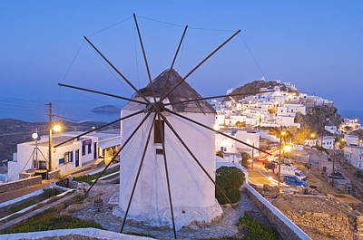 Mykonos Photograph - Chora, View Of The Town, Windmills by Maremagnum