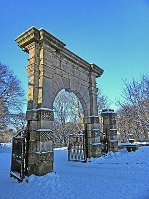 Photograph - Chorley. Gates In The Snow by Lachlan Main