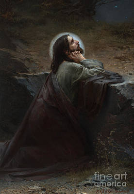 Painting - Christ On Mount Of Olives  Thy Will Be Done by Emanuel Krescenc Liska