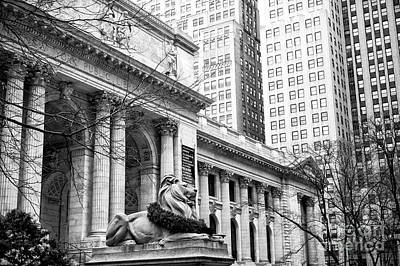 Photograph - Christmas At The New York Public Library At 42nd Street by John Rizzuto