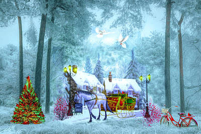 Digital Art - Christmas Buggy Ride by Debra and Dave Vanderlaan
