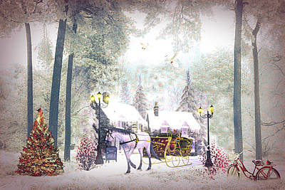 Digital Art - Christmas Buggy Ride Painting by Debra and Dave Vanderlaan