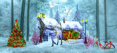 Photograph - Christmas Buggy Ride Panorama by Debra and Dave Vanderlaan