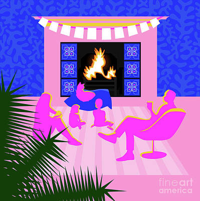 Digital Art - Christmas By The Fireplace by Claire Huntley