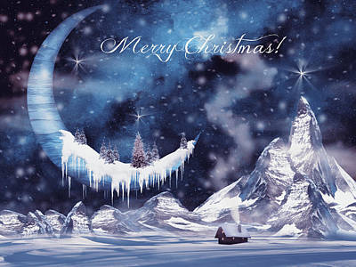 Surrealism Digital Art - Christmas card with frozen moon by Mihaela Pater