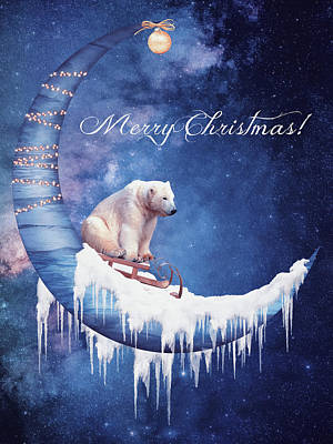 Surrealism Digital Art - Christmas card with moon and bear by Mihaela Pater