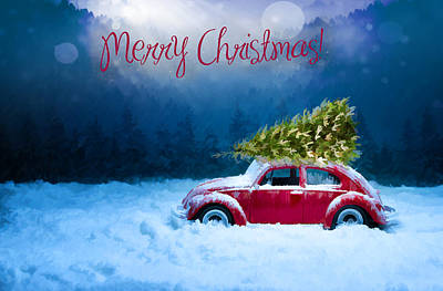 Digital Art Rights Managed Images - Christmas card with red car Royalty-Free Image by Mihaela Pater