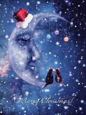 Surrealism Digital Art - Christmas card with smiling moon and cats by Mihaela Pater
