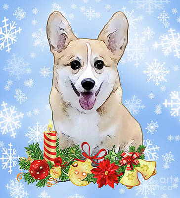Digital Art - Christmas Corgi Puppy by Kathy Kelly