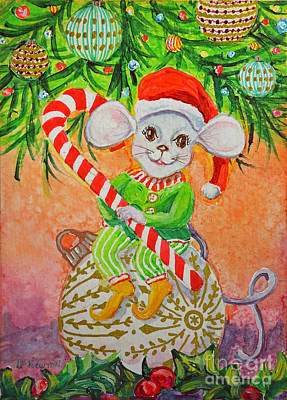 Painting - Christmas Elf by Li Newton