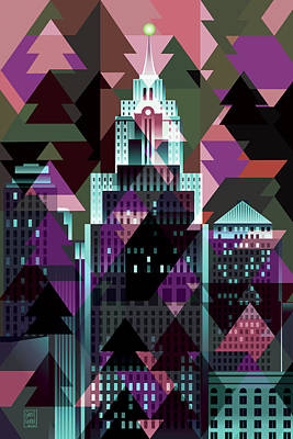 Abstract Skyline Digital Art Rights Managed Images - Christmas Eve Detroit Royalty-Free Image by Garth Glazier