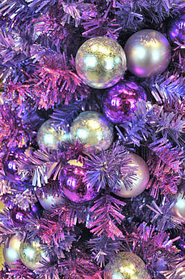 Curated Beach Towels - Christmas In Purple by Jamart Photography