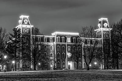 Photograph - Christmas Lights On Old Main - University Of Arkansas - Black And White by Gregory Ballos