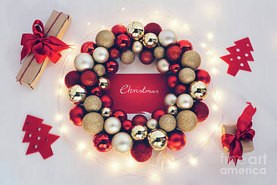 Photograph - Christmas Ornament With Fairy Lights And Gifts by Michal Bednarek