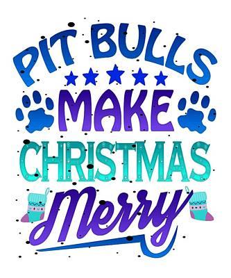 Pitbull Drawing - Christmas Pit Bulls Make Christmas Merry Pitbull by Kanig Designs