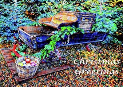 Mixed Media - Christmas Sleigh Greetings by Dorothy Berry-Lound