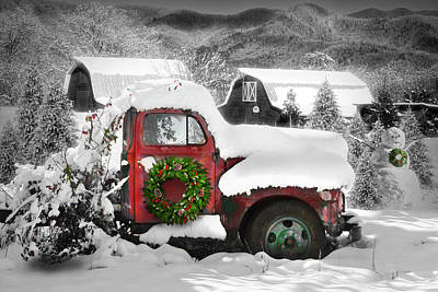 Photograph - Christmas Snowfall In The Mountains Black And White With Red And by Debra and Dave Vanderlaan