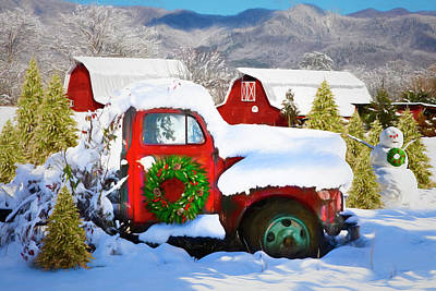 Photograph - Christmas Snowfall In The Mountains Painting by Debra and Dave Vanderlaan