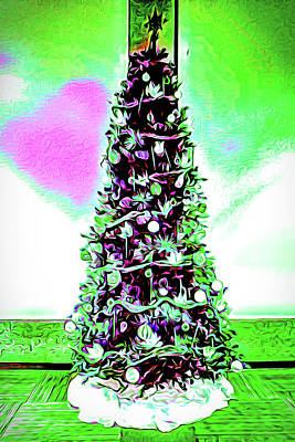 Digital Art - Christmas Tree Pink Heart by Joe Lach