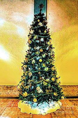 Digital Art - Christmas Tree Yellow Background by Joe Lach