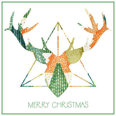 Wall Art - Mixed Media - Christmas Trio - Antlers by Amanda Lakey
