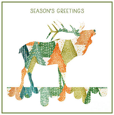 Wall Art - Mixed Media - Christmas Trio - Stag by Amanda Lakey