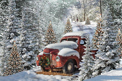 Photograph - Christmas Truck In The Snow by Debra and Dave Vanderlaan