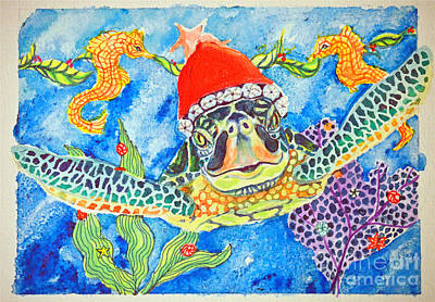 Painting - Christmas Turtle by Li Newton