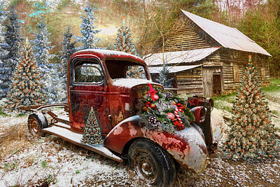 Photograph - Christmastime At A Country Farm In Hdr Detail by Debra and Dave Vanderlaan