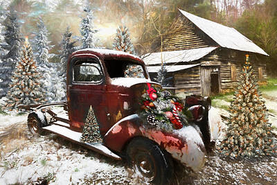 Photograph - Christmastime At A Country Farm Oil Painting by Debra and Dave Vanderlaan