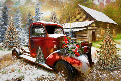 Photograph - Christmastime At A Country Farm Painting by Debra and Dave Vanderlaan