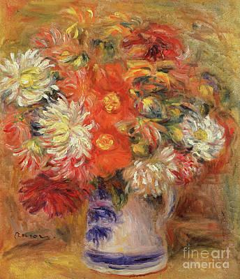 Painting - Chrysanthemums In A Vase, Circa 1919 by Pierre Auguste Renoir