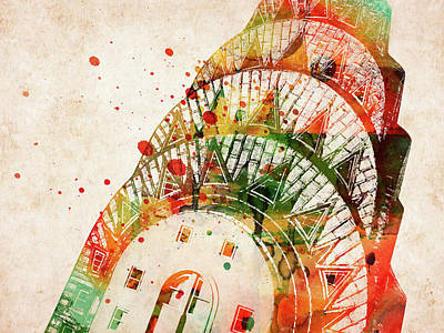 Landmarks Royalty Free Images - Chrysler building colorful watercolor Royalty-Free Image by Mihaela Pater