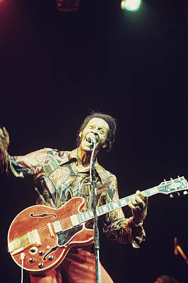 Chuck Berry Wall Art - Photograph - Chuck Berry Performs On Stage by Andrew Putler