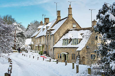 Photograph - Church Row Cottages In Chedworth In Winter by Tim Gainey