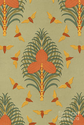 Painting - Cicadas And Pine Vintage Wallpaper Pattern Design by Maurice Pillard Verneuil