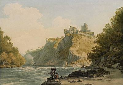 Ballerina Art - Cilgerran Castle on the River Teifi, Pembrokeshire, with a figure carrying a coracle by Celestial Images