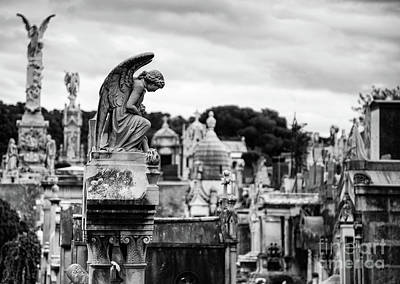 Photograph - Cimitiere Du Chateau Castle Cemetery Nice France Bw by Wayne Moran
