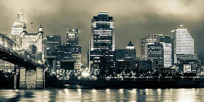 Photograph - Cincinnati Panoramic Night Skyline - Sepia Edition by Gregory Ballos