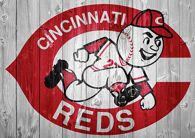 Mixed Media - Cincinnati Reds Barn Door by Dan Sproul