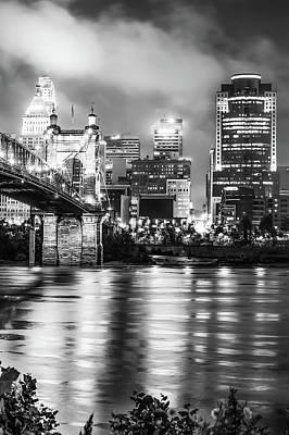 Photograph - Cincinnati Sepia Skyline Over Ohio River - Black And White Edition by Gregory Ballos
