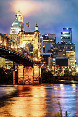 Photograph - Cincinnati Skyline And John Roebling Bridge - Vertical Colors by Gregory Ballos