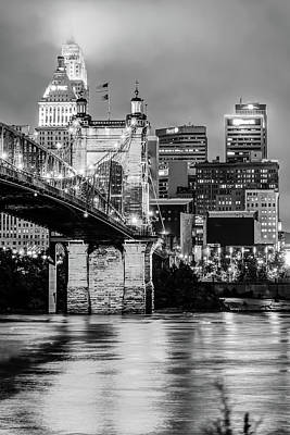 Photograph - Cincinnati Skyline And John Roebling Bridge - Vertical Monochrome by Gregory Ballos