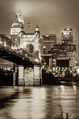Comedian Drawings - Cincinnati Skyline and John Roebling Bridge - Vertical Sepia I by Gregory Ballos