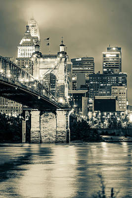 Photograph - Cincinnati Skyline And John Roebling Bridge - Vertical Sepia II by Gregory Ballos