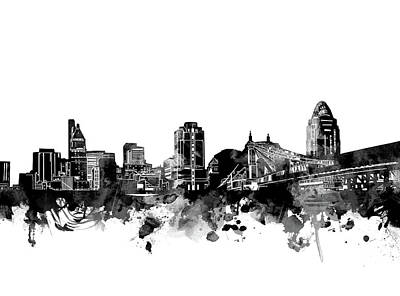 Abstract Skyline Royalty-Free and Rights-Managed Images - Cincinnati Skyline Bw by Bekim M